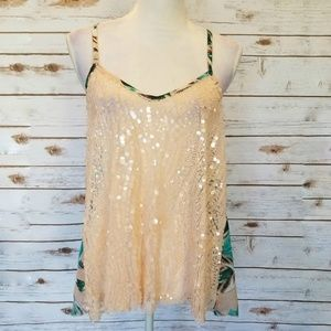 Daytrip Sequin and Floral Print Tank Top